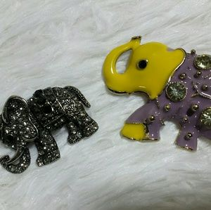 Vintage Lucky Jeweled Elephant Brooches Set